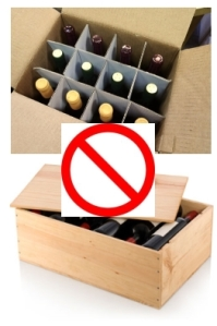 NEVER ship wine in retail cases!